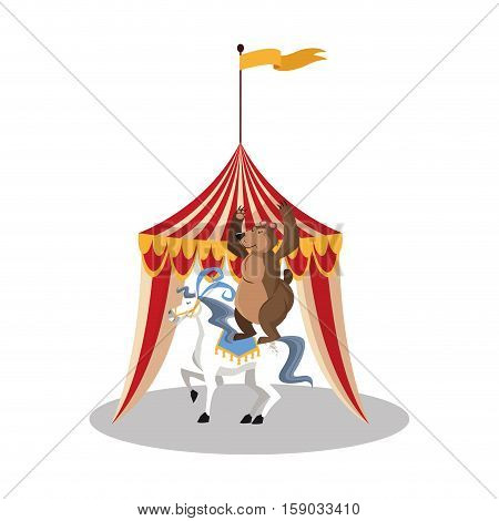 Tent horse and bear icon. Circus carnival fair fun and show theme. Colorful design. Vector illustration