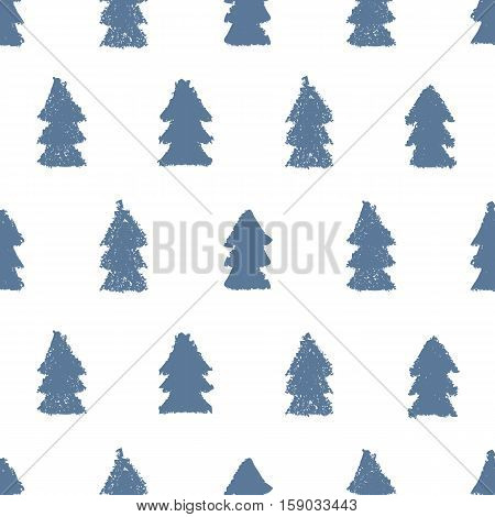 Christmas trees seamless pattern. Hand painted pastel crayon. Grunge background. Design element for xmas wallpapers, invitations, scrapbooking, fabric print etc. Vector illustration.