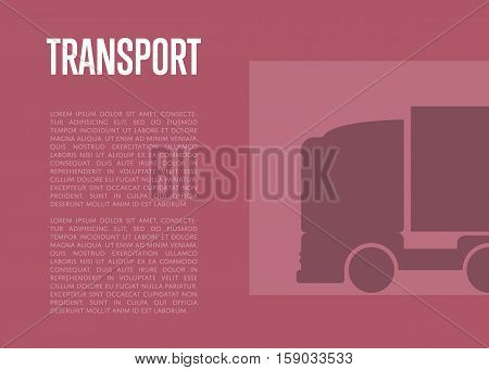 Commercial cargo transport banner with space for text vector illustration. Silhouette of freight truck on purple background. Delivery service and distribution business, freight shipping concept