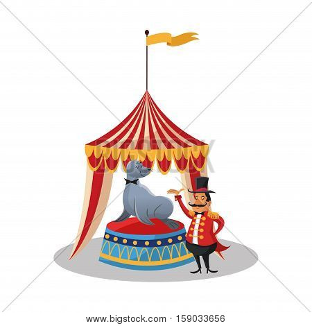 Tent and seal icon. Circus carnival fair fun and show theme. Colorful design. Vector illustration