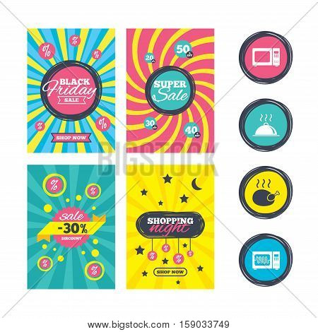 Sale website banner templates. Microwave grill oven icons. Cooking chicken signs. Food platter serving symbol. Ads promotional material. Vector