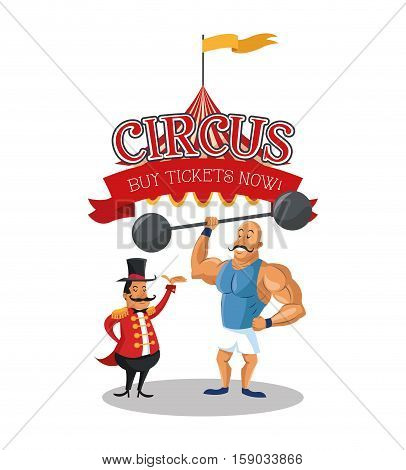 Tent and strength  man icon. Circus carnival fair fun and show theme. Colorful design. Vector illustration