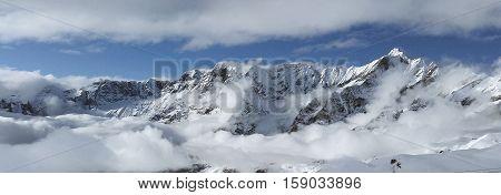 Mountain View of the Alpine ridge between Cervinia Italy and Zermatt Switzerland