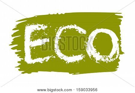 Eco product hand drawn label isolated vector illustration. Healthy and lifestyle vegan symbol. Eco hand sketch badge, icon. Logo for vegetarian restaurant menu, cafe, farm market. Eco food lettering. Organic food logo. Healthy food icon.