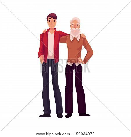 Handsome grandson hugging with his granddad, cartoon vector illustration isolated on white background. Full length portrait of young man hugging his grandad, family connection