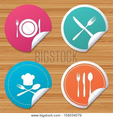 Round stickers or website banners. Plate dish with forks and knifes icons. Chief hat sign. Crosswise cutlery symbol. Dining etiquette. Circle badges with bended corner. Vector