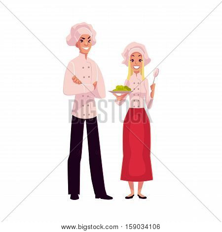 Young and handsome chefs, cooks, male and female, in white uniform, cartoon vector illustration isolated on white background. Full length portrait of man and woman working as chefs, cooks