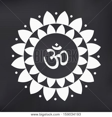 Vector Lotus Mandala with Om Symbol Illustration