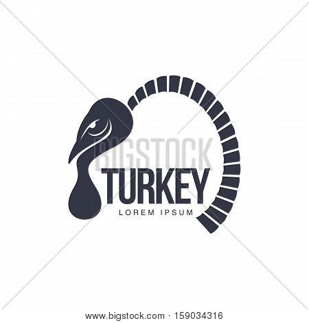 Stylized abstract side view turkey graphic logo template, vector illustration on white background. Black and white side view abstract turkey for business, farm, poultry logo design