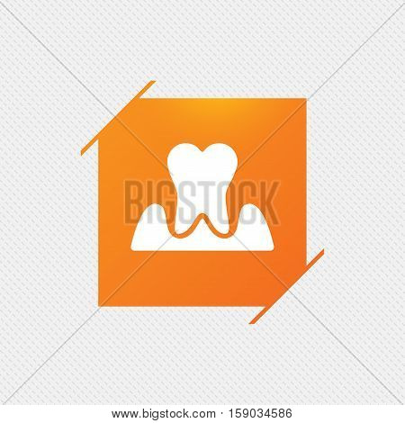 Parodontosis tooth icon. Gingivitis sign. Inflammation of gums symbol. Orange square label on pattern. Vector poster