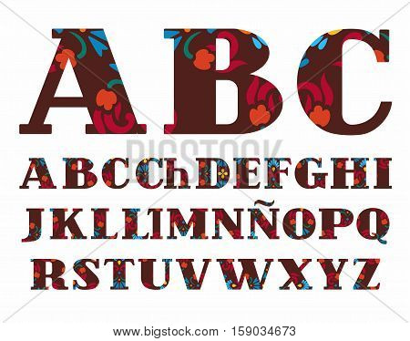 Spanish alphabet, decorative flowers, vector font, capital letters, brown. The letters of the Spanish alphabet with serifs. Red and blue flowers on a brown background.
