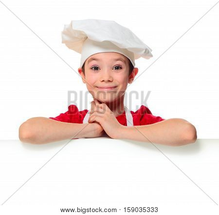 Amazed chef boy isolated on white background