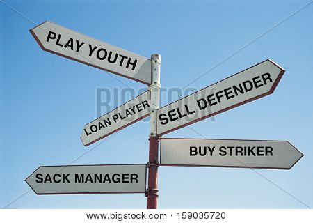 Sign Post saying the various tactics that a football team has to improve its league position