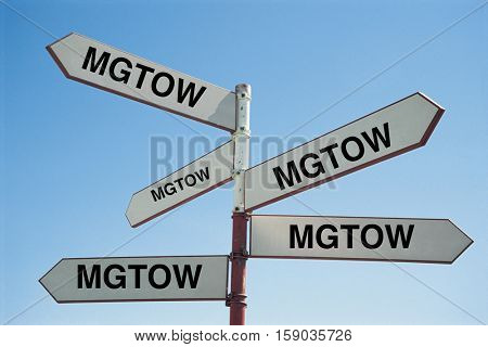 Sign Post saying MGTOW Men Go Their Own Way