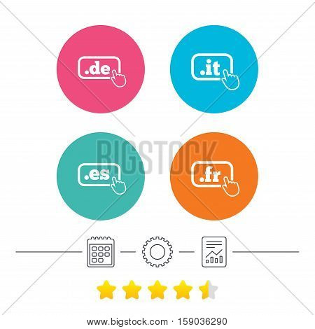Top-level internet domain icons. De, It, Es and Fr symbols with hand pointer. Unique national DNS names. Calendar, cogwheel and report linear icons. Star vote ranking. Vector