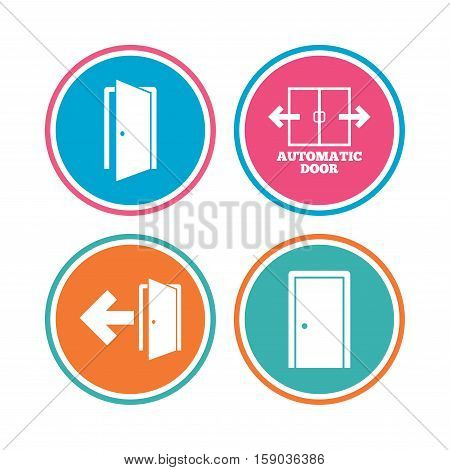 Automatic door icon. Emergency exit with arrow symbols. Fire exit signs. Colored circle buttons. Vector