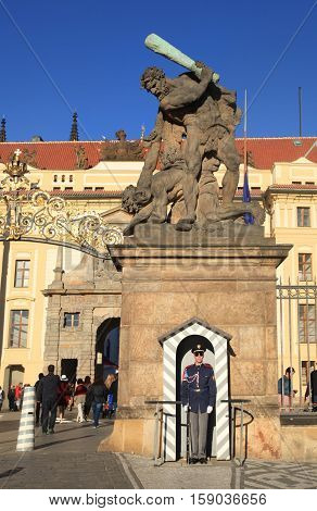 PRAGUE, CZECH REPUBLIC - SEPTEMBER 28, 2015: Entrance to Prague castle guarded by the castle guards Prague, Czech Republic. Prague castle is the official residence of the president of the Czech republic.