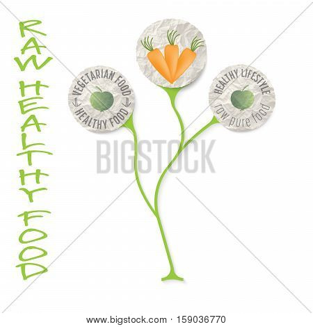 Three icons for theme raw food and the words healthy raw food