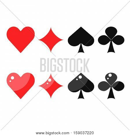 Playing card suits spades, hearts, diamonds and clubs. Flat style design vector icons for game cards.