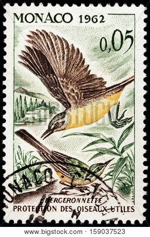 LUGA RUSSIA - NOVEMBER 29 2016: A stamp printed by MONACO shows Western Yellow Wagtail (Motacilla flava) - a small passerine bird in the wagtail family Motacillidae circa 1962