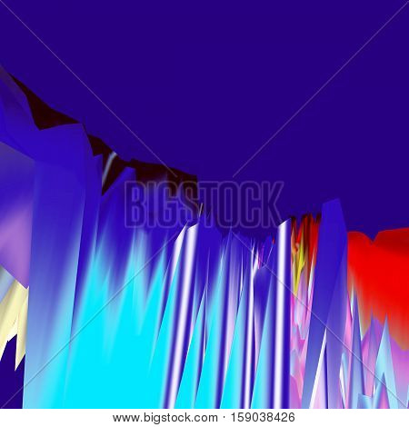 Background of glitch manipulations. Abstract landscape with sharp peaks in the blue shades. It can be used for web design and visualization of music.