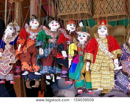 Burmese puppets for souvenirs in a market