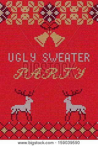 Vector Illustration of Ugly Sweater Party Greeting card for Design, Website, Background, Banner.Christmas Flyer Template. Holiday Tacky Winter Poster.