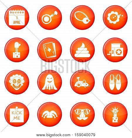 April fools day icons vector set of red circles isolated on white background poster