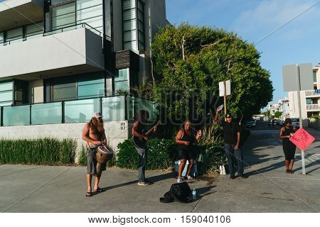 Los Angeles USA - September 27 2015: Musicians are playing on Venice beach California.