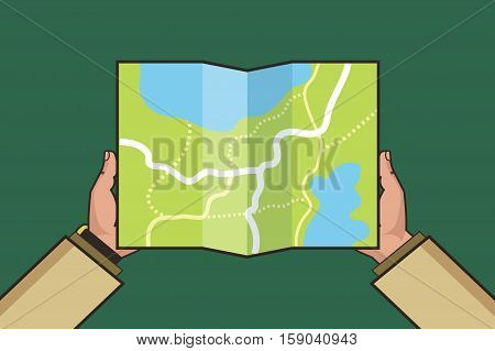 Hands holding paper map. Folded map in hands of men. Tourist look at map. Vector Illustration in flat design. Travel banner