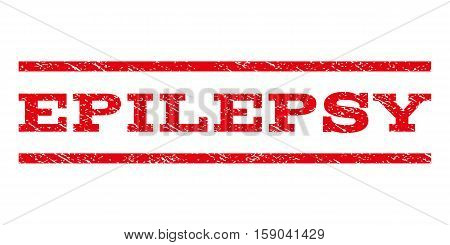 Epilepsy watermark stamp. Text caption between horizontal parallel lines with grunge design style. Rubber seal stamp with dust texture. Vector red color ink imprint on a white background.