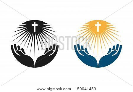 Religion vector logo. Church, Pray or Bible icon isolated on white background