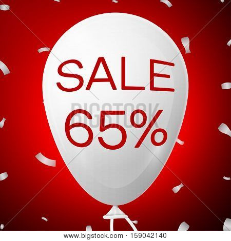 White Baloon with text Sale 65 percent Discounts. SALE concept for shops store market, web and other commerce. Vector illustration