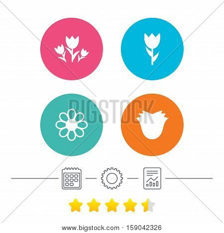 Flowers icons. Bouquet of roses symbol. Flower with petals and leaves. Calendar, cogwheel and report linear icons. Star vote ranking. Vector