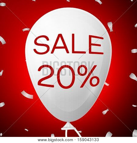 White Baloon with text Sale 20 percent Discounts. SALE concept for shops store market, web and other commerce. Vector illustration