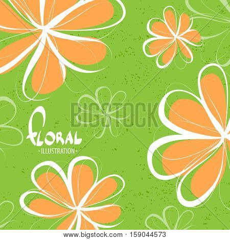 Bright schematic orange flowers on a green background lift your mood