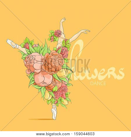 Graceful ballerina adorned with flowers on a light background with a place for an inscription
