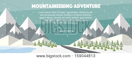 Mountaineering adventure. Alps, fir trees, lake, mountains wide panoramic background. Winter web banner design. Vector high mountains, winter wide landscape.