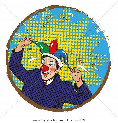 Vector illustration of businessman clown in jester hat in retro pop art comic style. Crazy man making people laugh, in round frame.