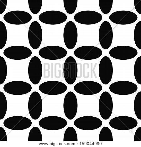 Seamless abstract black and white ellipse pattern background