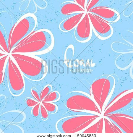 Bright sketchy flowers on a blue background lift your mood