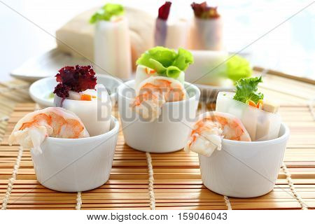 Salad with noodle prawn and vegetable for healty.