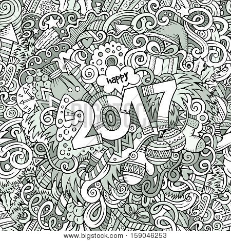 Cartoon cute doodles hand drawn New Year illustration. Picture with New Year theme items. Doodle inscription 2017. Line art detailed, with lots of objects background. Funny vector artwork.