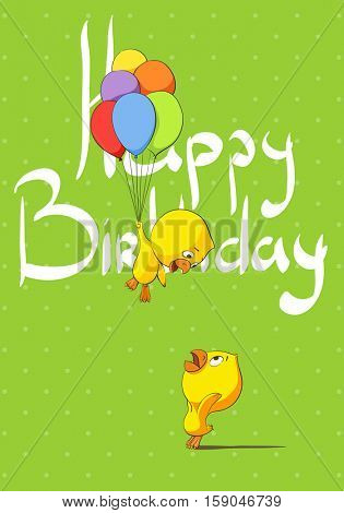 Cute chicks congratulate birthday happy birthday on a bright green background