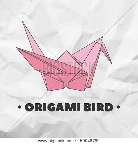 Bird made from paper in origami technique