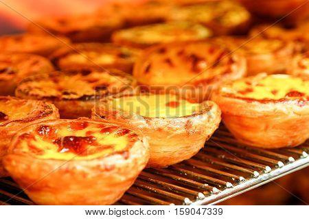 Traditional Portuguese egg tart pasty cake dessert Pasteis de nata in oven