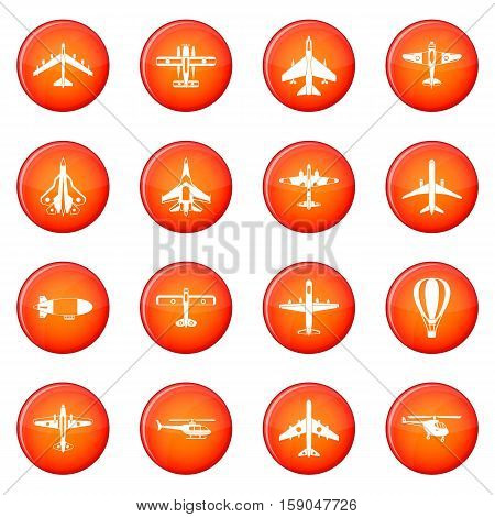 Aviation icons vector set of red circles isolated on white background