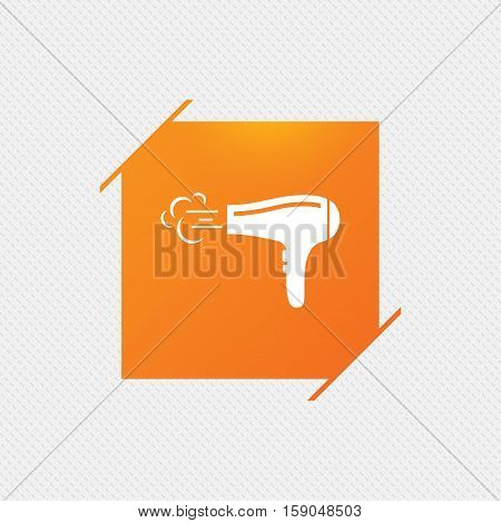 Hairdryer sign icon. Hair drying symbol. Blowing hot air. Turn on. Orange square label on pattern. Vector
