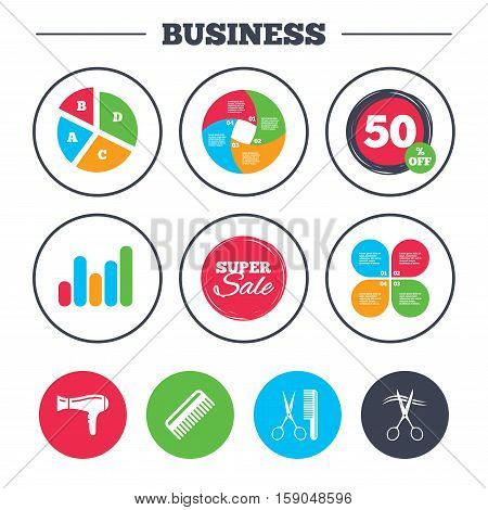 Business pie chart. Growth graph. Hairdresser icons. Scissors cut hair symbol. Comb hair with hairdryer sign. Super sale and discount buttons. Vector