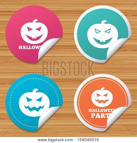Round stickers or website banners. Halloween pumpkin icons. Halloween party sign symbol. All Hallows Day celebration. Circle badges with bended corner. Vector